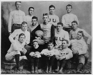 Utah's First Football Team, 1892 Standing: Mr. Christensen, William Wallace, William D. Riter, Joel Grover Seated: George R. Dow, Joseph U. Eldredge, Alma Cunningham, Captain Harry Jennings, Irastus Fisher Bottom row: Frank Groesbeck, George C. McIntyre, Seth Thomas, Raymond Naylor