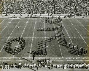 Utah Marching Band at Rice stadium, circa 1970