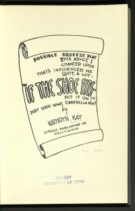 """Possible Squeeze Play. This Advice I chanced Upon, That's Influenced Me Quit a Lot -- """"If the shoe fits--put it on!"""" Just Look What Cinderella Got!, Kathryn Kay, Circle Publishing Co., 1942"""