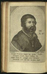 Engraved portrait of Hans Hoblein from 1676 Morias Enkomion.