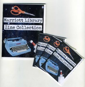 covers of Marriott Library Zine Collection zines: scissors and typewriter