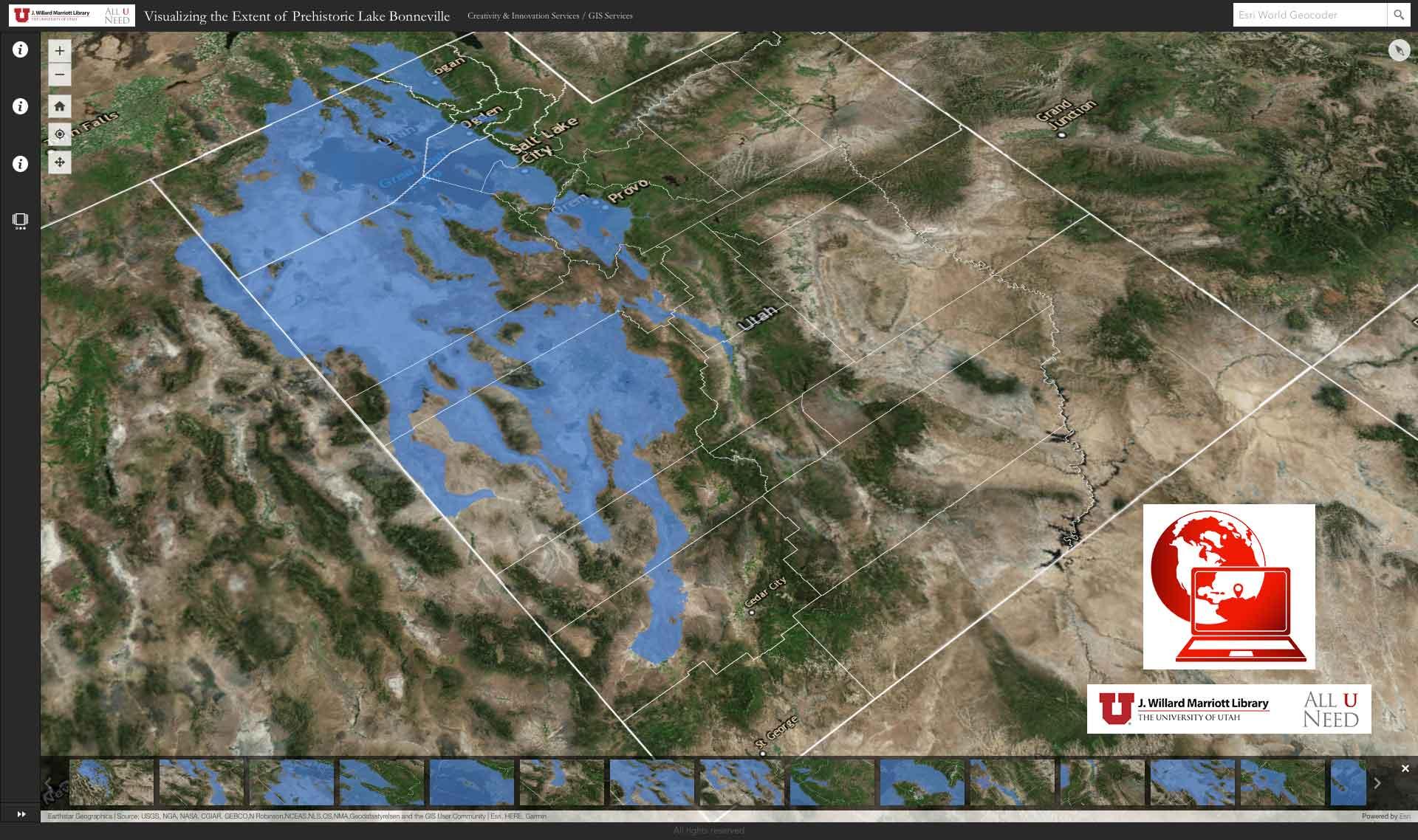 Lake Bonneville Map Visualizing the Extent of Prehistoric Lake Bonneville | J. Willard