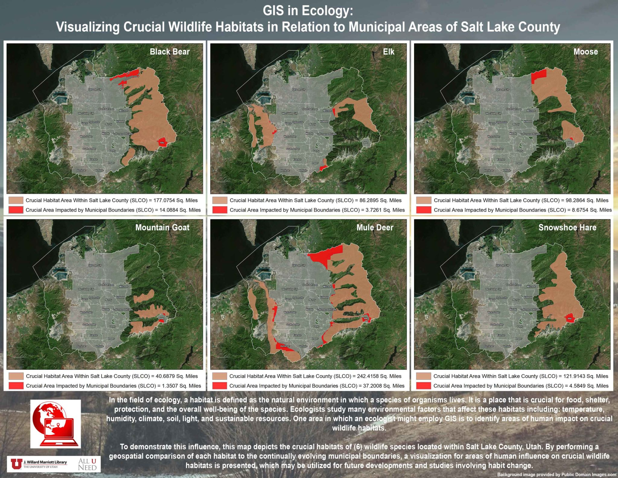 Salt Lake County Plat Map GIS in Ecology: Visualizing Crucial Wildlife Habitats in Relation  Salt Lake County Plat Map