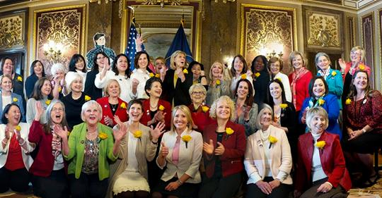 The women of Utah's 63rd legislature celebrating Martha Cannon's addition to Statuary Hall in Washington, D.C. February 14, 2019 photograph by Leah Hogsten, courtesy of The Salt Lake Tribune.