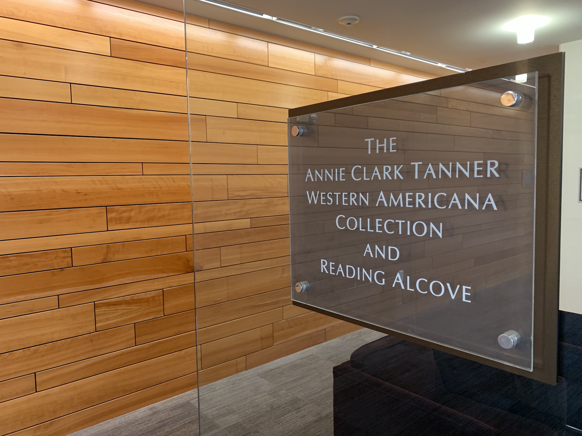 The Annie Clark Tanner Western Americana Collection and Reading Alcove sign