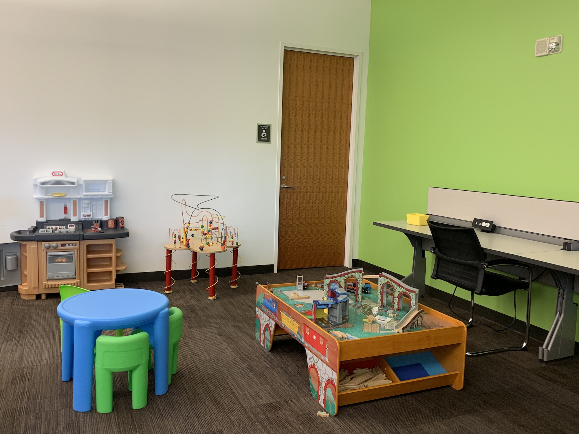 Various toys and other items for children to use in the Family Reading Room.