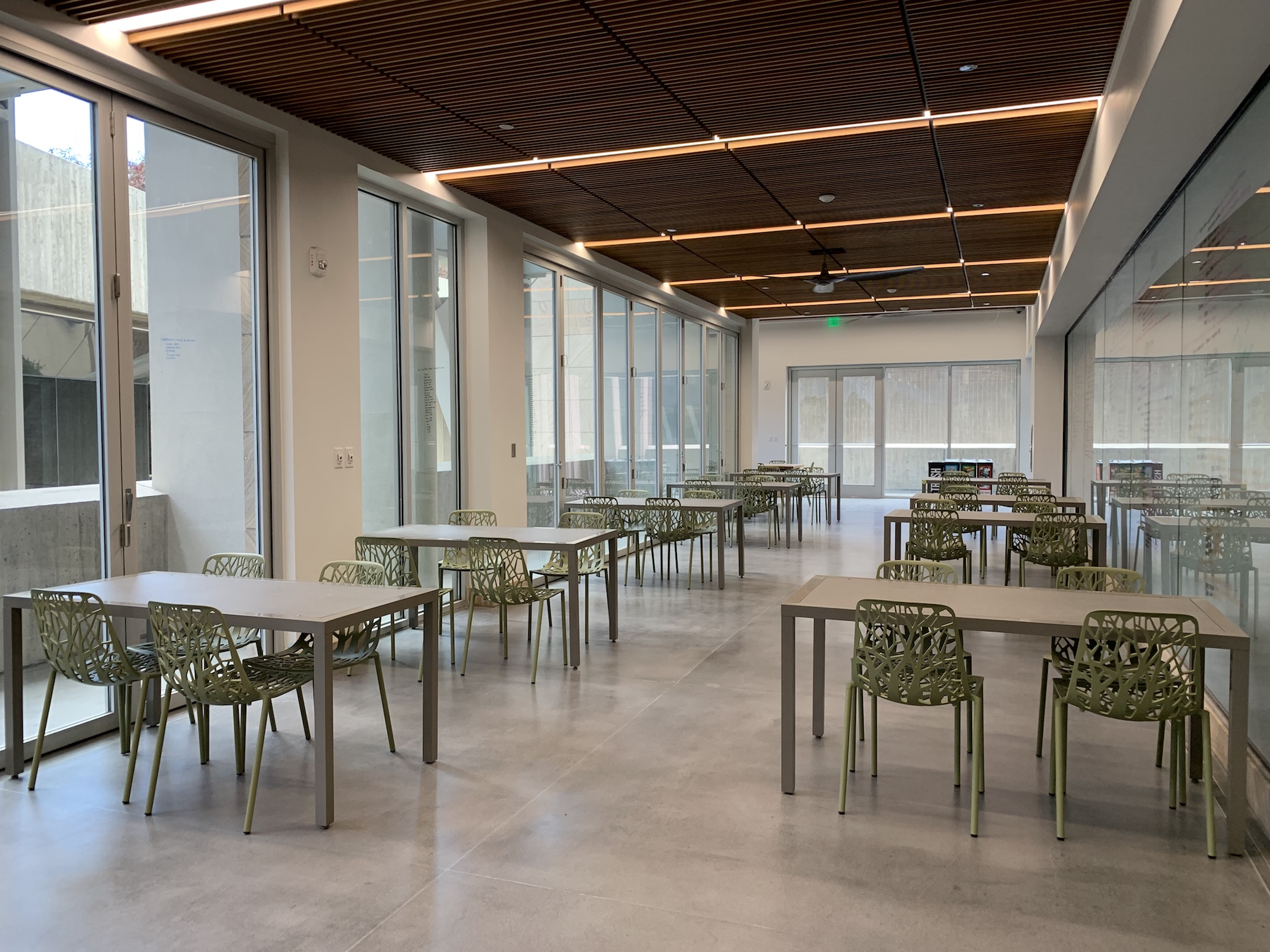 The new desks in the indoor area of Katherine's Courtyard.