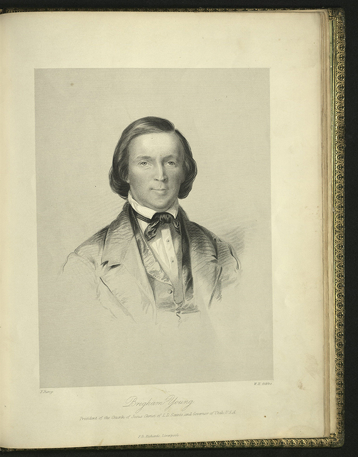 portrait of Brigham Young from Frederick Piercy's Route from Liverpool, 1855