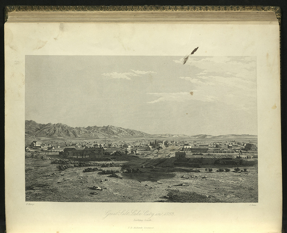 """Great Salt Lake City Looking South"" from Frederick Piercy, Route to Liverpool to Great Salt Lake Valley, 1855"