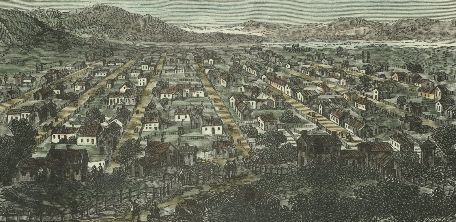 undated chromolithograph of early Salt Lake City settlement from unidentified book in French