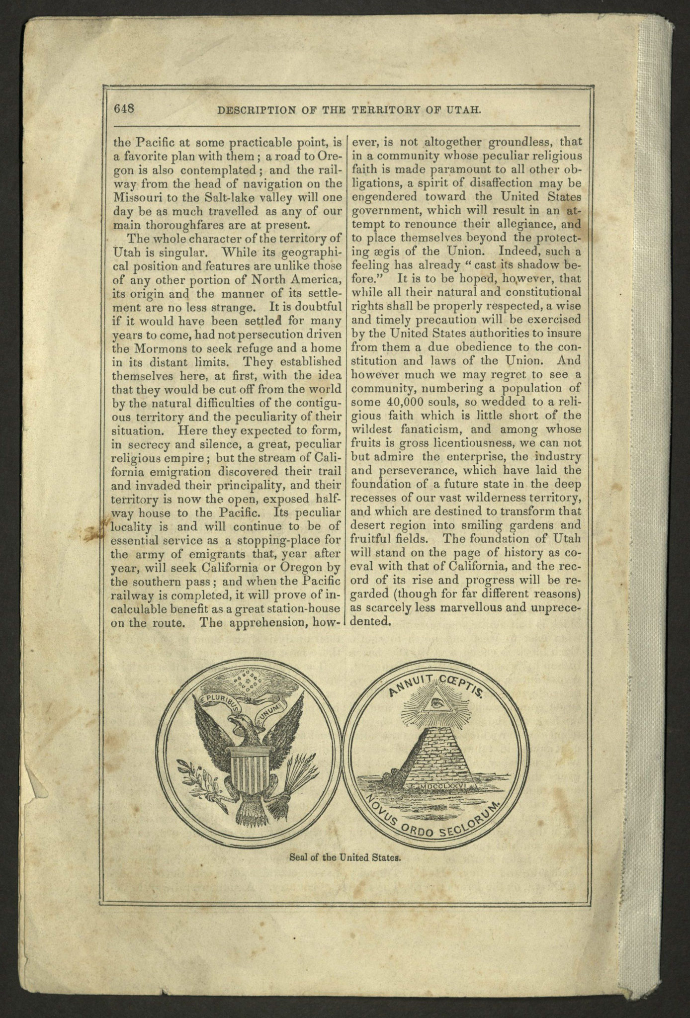 "p. 648 of chapter ""Description of the Territory of Utah with two cartouches at the bottom of the page of the front and back of the Seal of the United States"