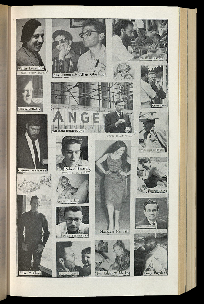Contains images of contributors to The Outsider