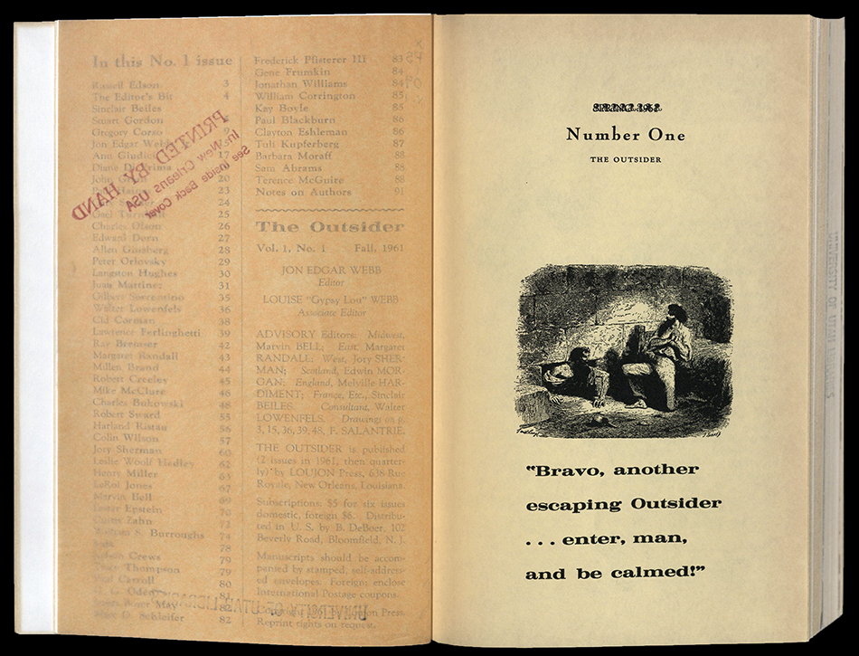 """Spread from the Outsider, volume 1. Title page with text """"Bravo, another escaping Outsider... enter, man, and be calmed!"""" Includes an image of two men"""