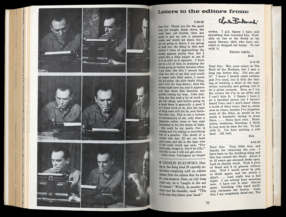 Spread from the Outsider, Volume 3. Photo proof of Charles Bukowski, opposite text