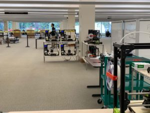 Relocated 3D printers available to patrons in the developing ProtoSpace Lab on level 2 of the Marriott Library.