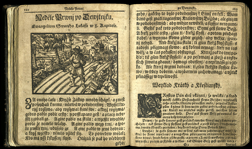 page 123 featuring woodcut of farmer in field