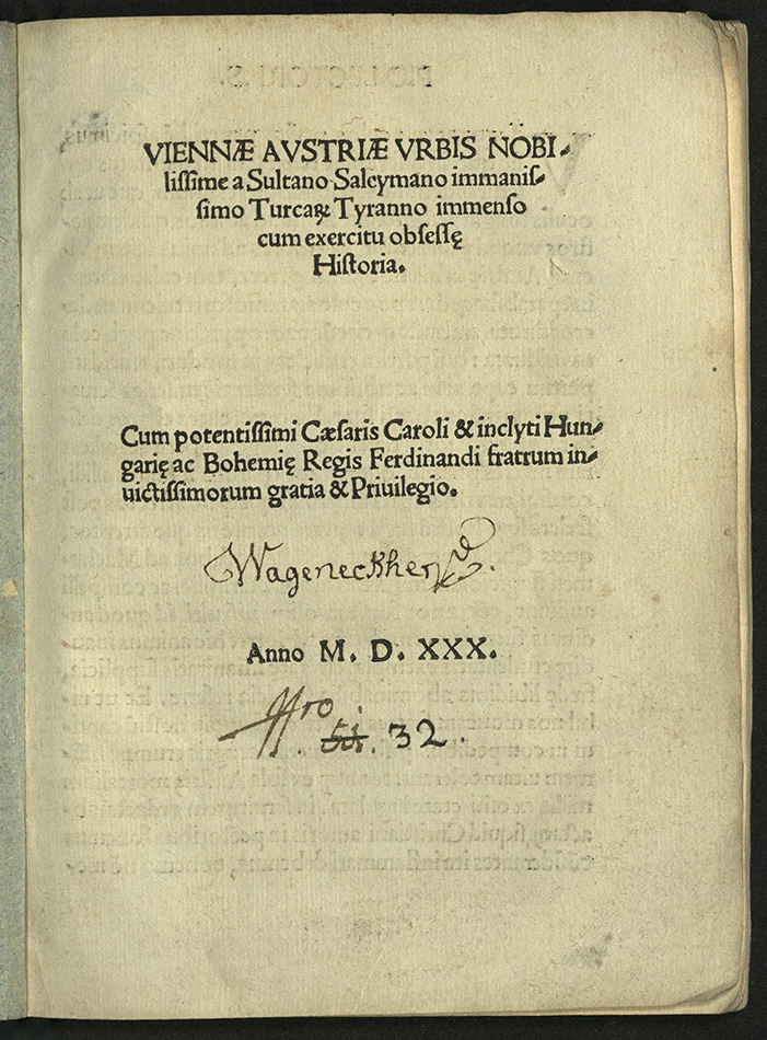 title-page including post-contemporary inscription and penned number, perhaps a shelf mark