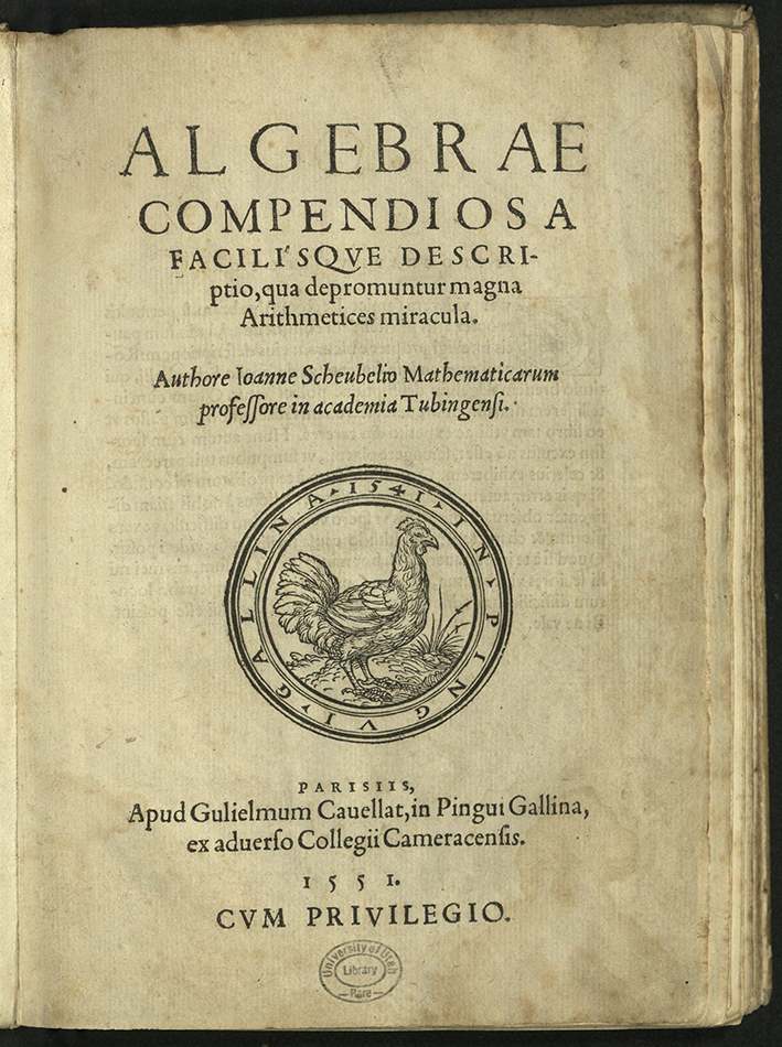 title-page with printers device of hen