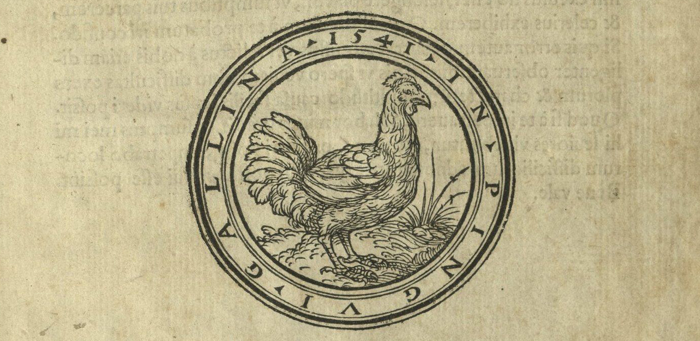 printers device: hen within roundel