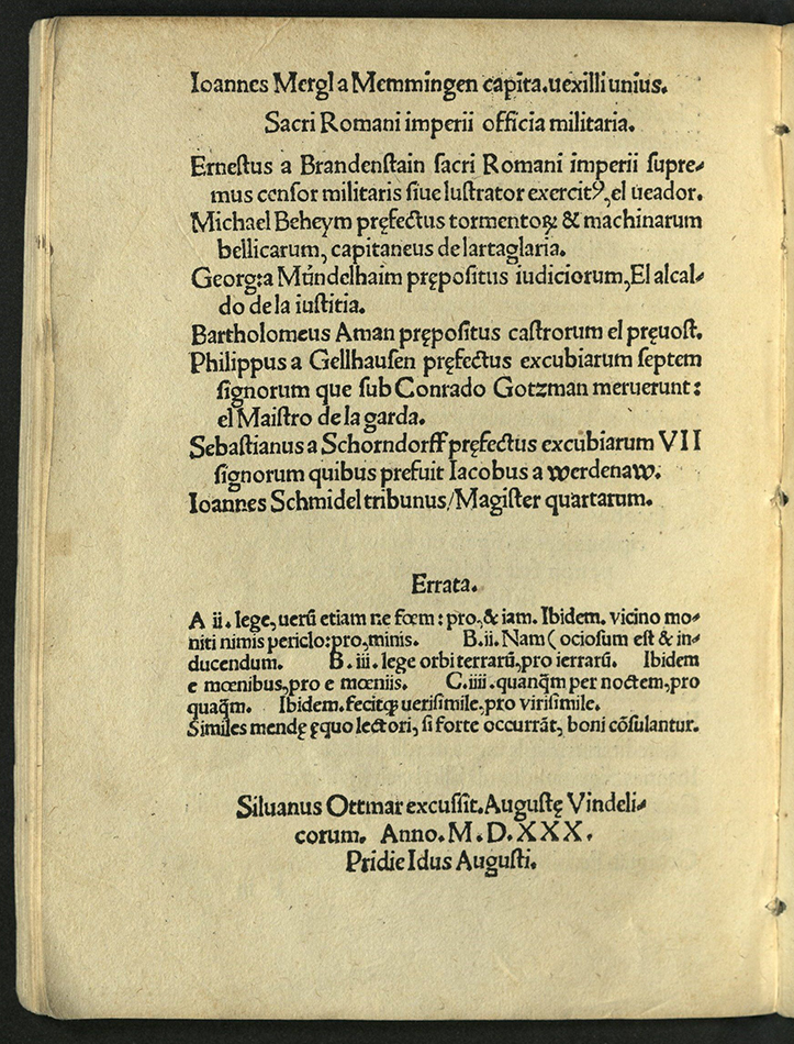 final page with errata, colophon