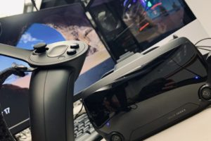 A VR headset, controller, and computer found in the new VR Classroom at the Marriott Library.