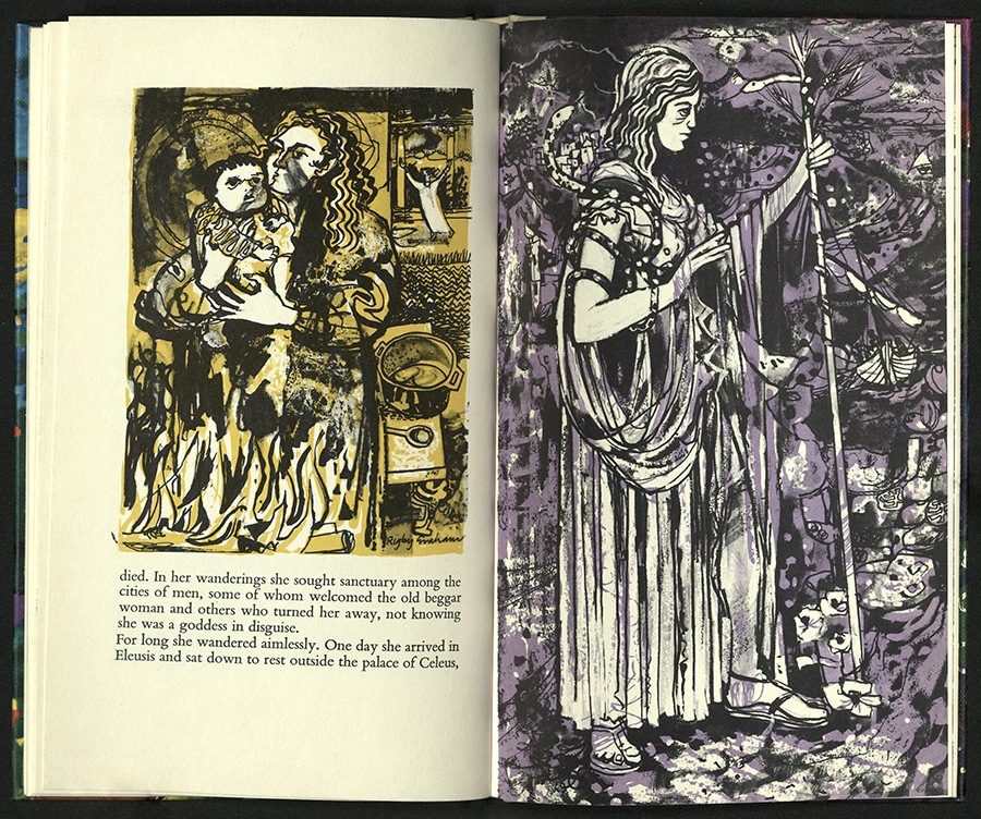 spread with text on verso topped by wood engraving colored yellow, verso is full-page wood engraving in purple