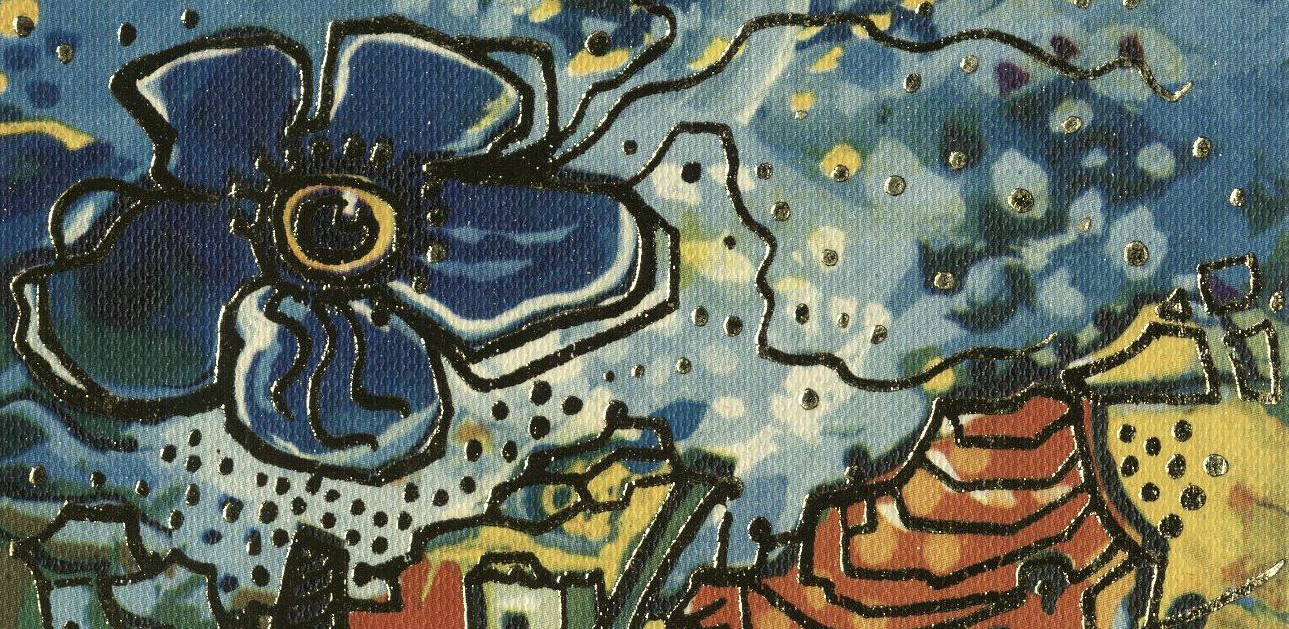 fraction of front cover: blue flower in sky