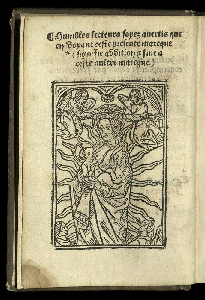 woodcut of Mary and Child with angels overhead, four lines of text in Latin above