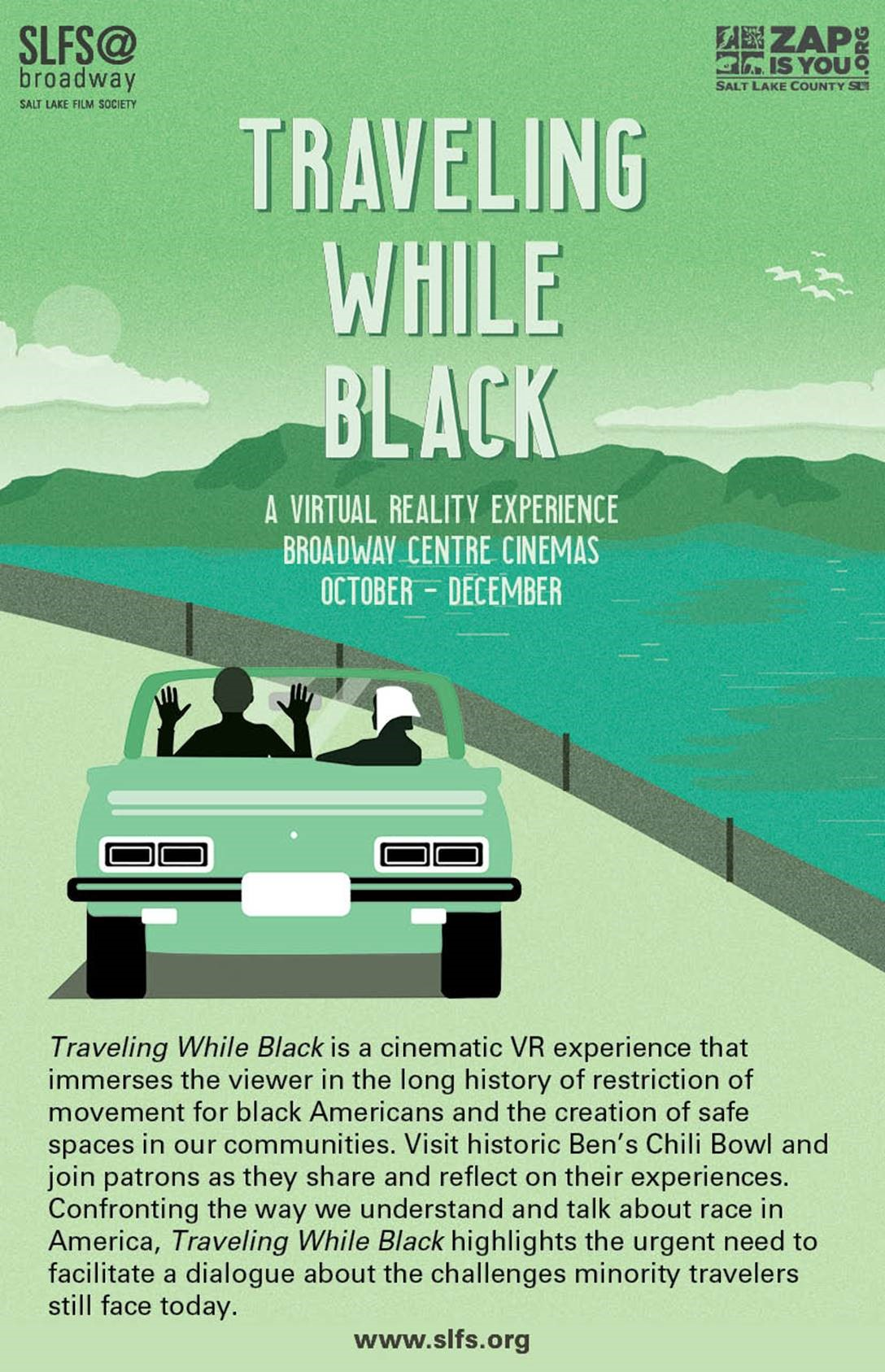 Promotional flyer for the VR experience Traveling While Black.