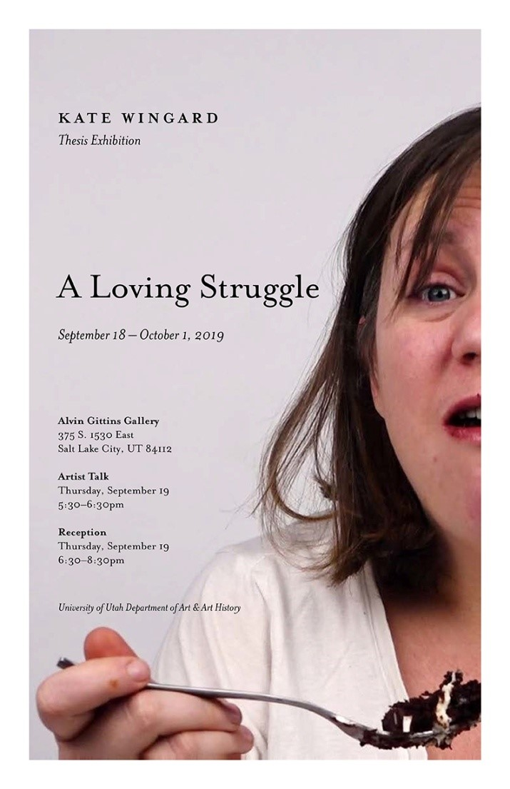 """Flyer for """"A Loving Struggle"""" exhibition by Kate Wingard."""