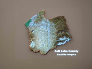 The Salt Lake County 3D Model printed for projecting GIS data.