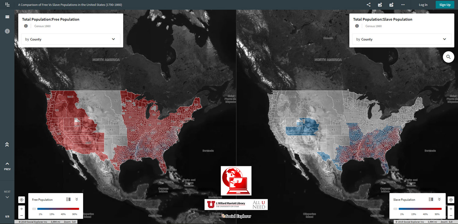 A side-by-side comparison of free vs slave populations based on census data from 1860 - one of multiple visualizations found in this project.