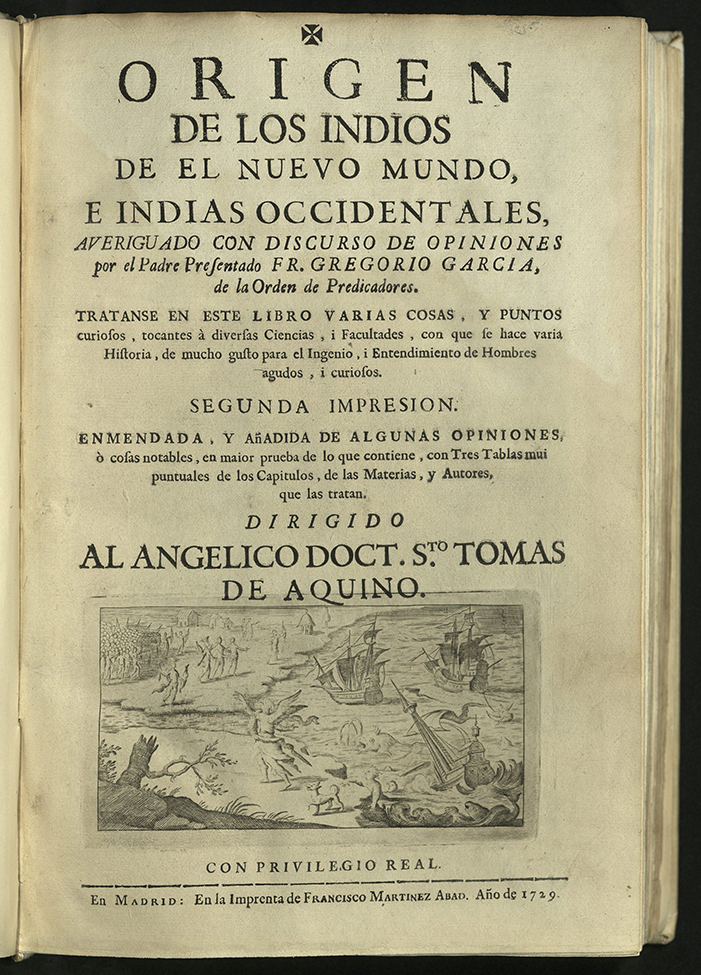 title-page with engraving at bottom depicting the landing of Spaniards from sailing ships while Aztecs gather on shore