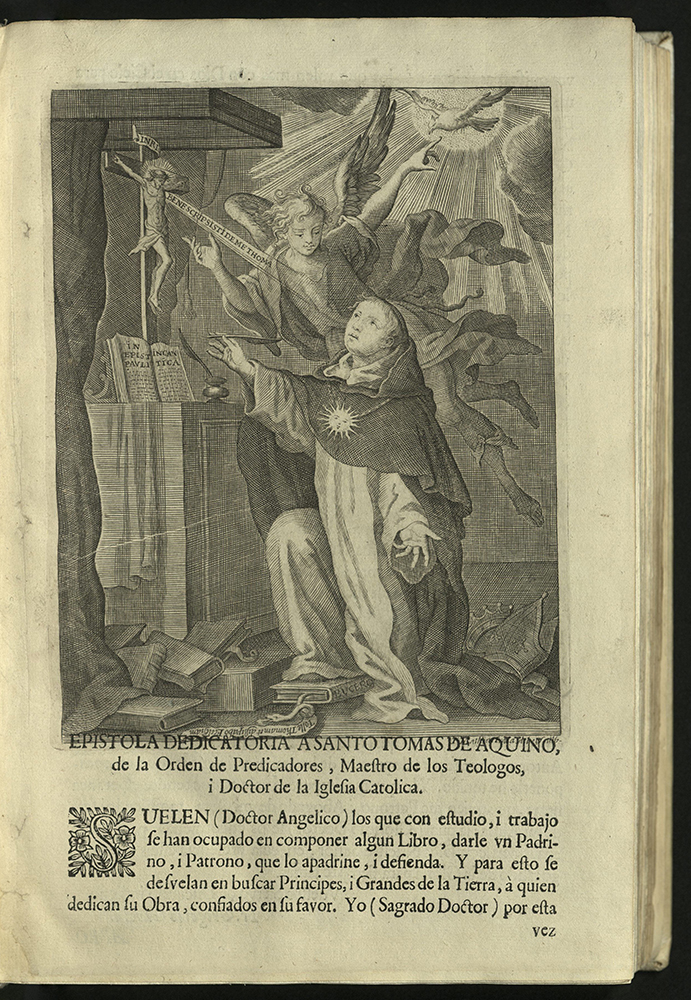 3/4 page woodcut, with text below, depicting Thomas Acquinas kneeling at an altar with Bible and Jesus Christ on Crucifix while hovering angel points to dove overhead. Tumbled books line the floor of the scene