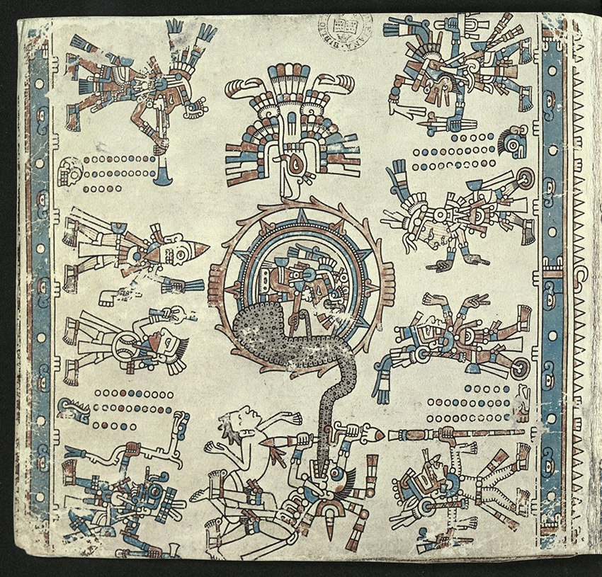 The opening page depicts the sun with a falling eagle descending into the dark clouds of sunset which rise from the jaws of Death who is sacrificing a victim. On either side of the page four pairs of deities stand on the earth. These are accompanied by a numerical sequence