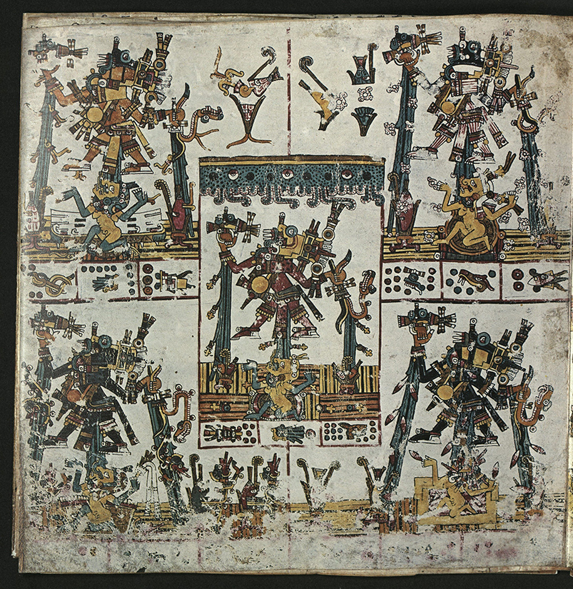 divided into five compartments – one in each corner and one in the center. In each a male is hovering over a female. Each female wears a headdress but is otherwise naked. The couples are set with maize stalks. The glyphs record dates. In each compartment two glyphs represent days and one represents a year. This page then, represents five consecutive years.