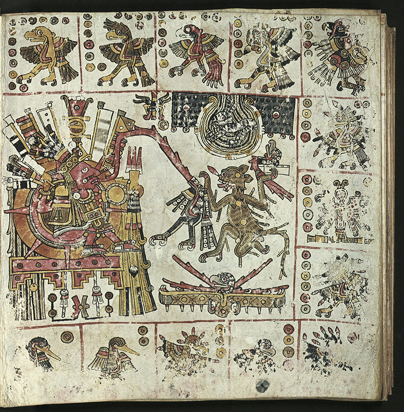 sun god in center left surrounded by differing figures of eagles with varying number of dots