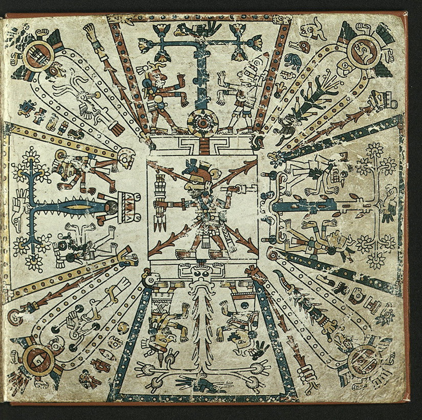 The image depicts the cosmos and its relation to the 260-day calendar, the tonalpohualli. At the center of the page is the fire god Xiuhtecuhlti holding a bundle of spears and wielding at atlatl. Flanking him in the four cardinal directions are different types of t-shaped trees. In the interstices of these directions are bird that each bear one of four year signs. Jagged streaks of red represent the four dismembered pieces of Tezcatlipoca, which established space and direction thereby creating the cosmos. East is at the top, west on the bottom, north to the left and south to the right. The directions surround Xiuhtecuhlti, the god of fire. Five motifs appear between the four trees and the birds of the year sign. Each of these motifs represent one of the 20 trecenas, or 13 day periods that compose the calendar.