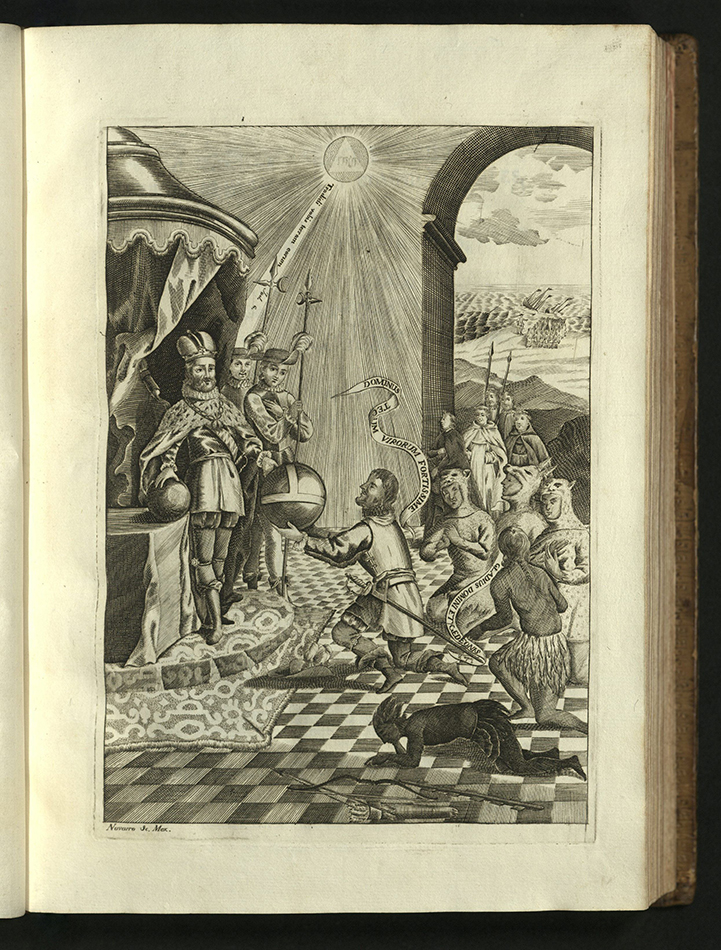 Cortes kneeling before Carlos V, presenting large orb while native prostrates next to him. The sun, with a pyramid shape in the center, shines down on king and conquistador. In the background, through a window, the sea is filled with sailing vessels.