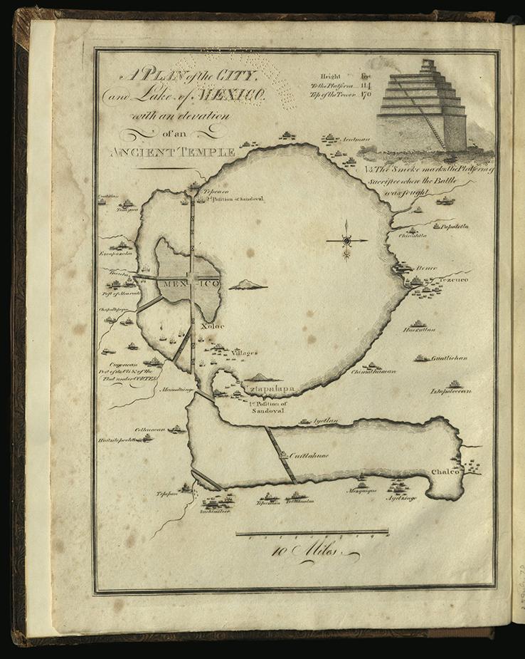 engraved plan of city Tenochtitlan on lake