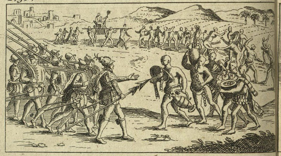 etching depicting the meeting between Cortes and Montezuma (who comes laden with apparent gifts)