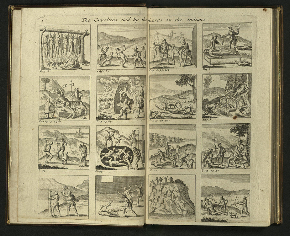 spread with eight engravings each page depicting torture of Aztecs by Spaniards