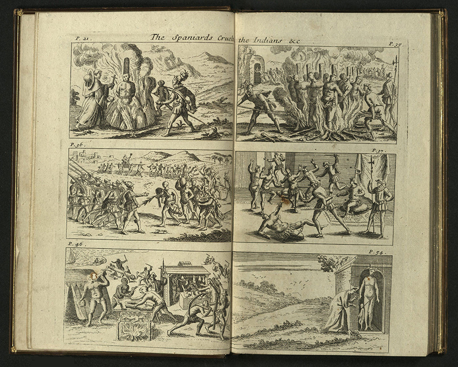 spread with six scenes, engraved, depicting Catholic clergy with Aztecs