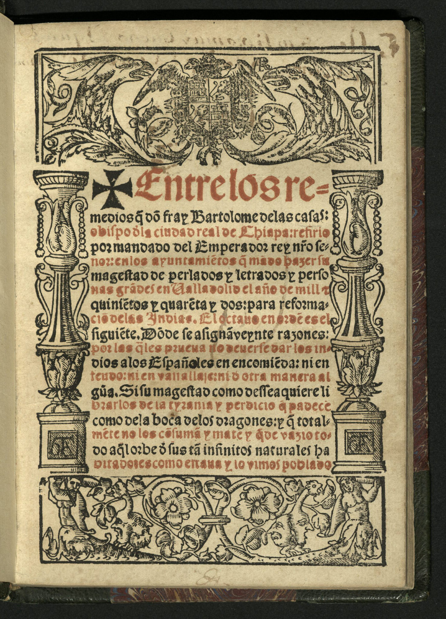 Title-page in red and black with ornate border surrounding text and including columns on either side