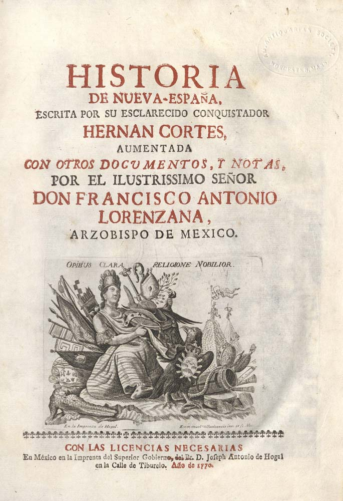 title-page in red and black with engraving at bottom depicting Aztec