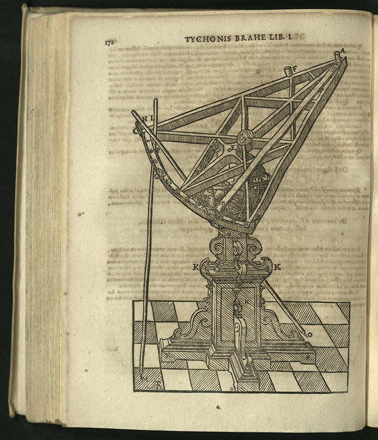 engraving of sextant standing on checkered floor