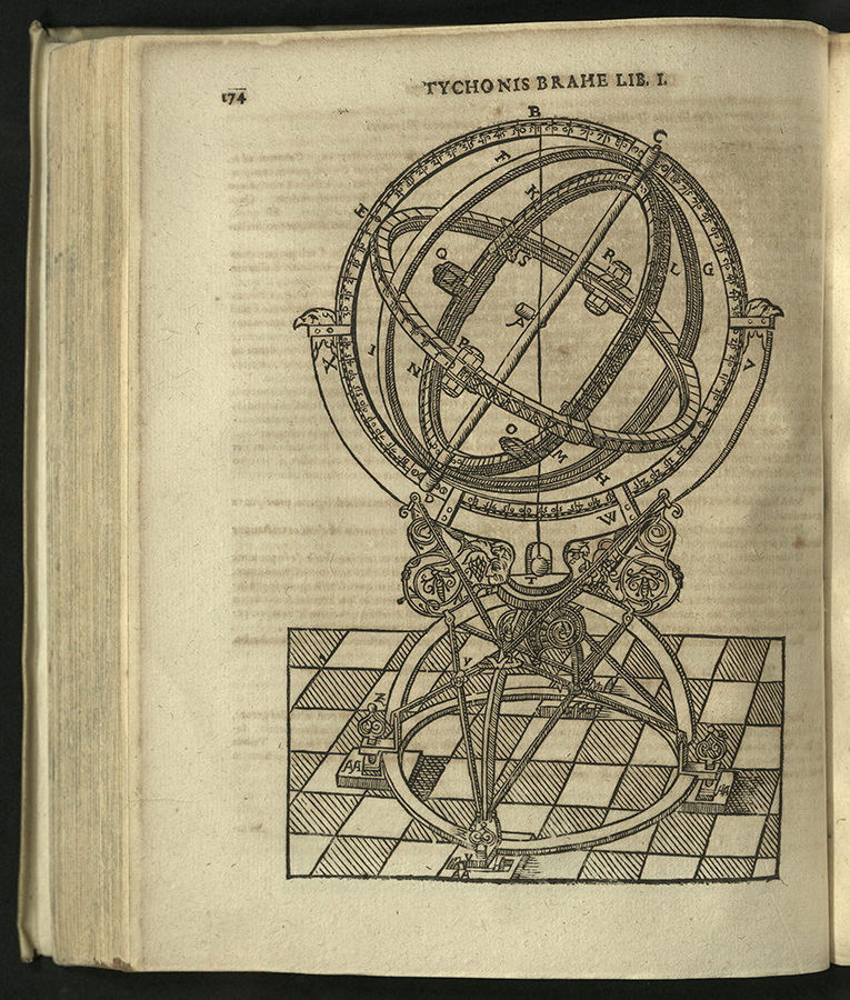 full-page engraving of armillary sphere on checkered floor