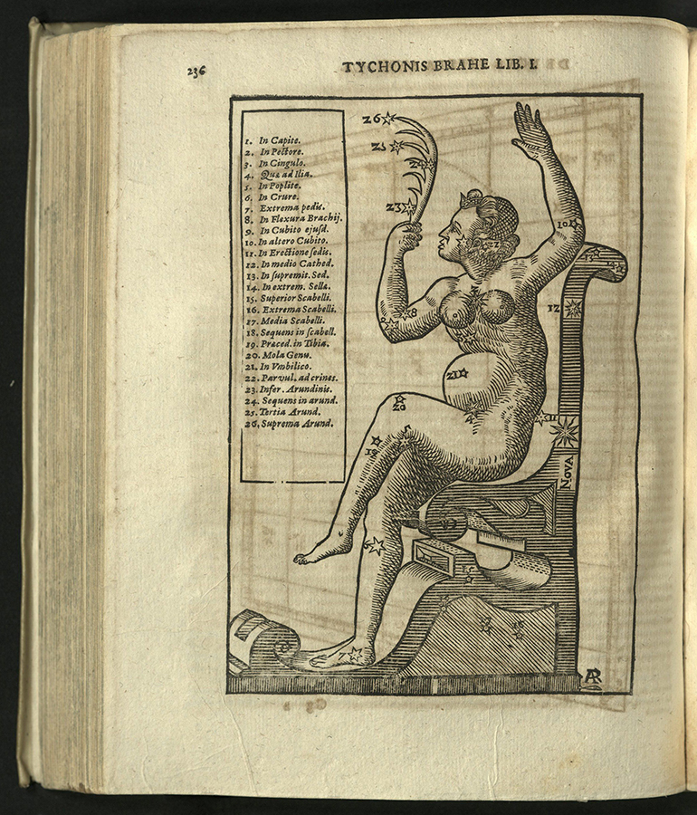 seated figure of woman with outline of constelation including new star, list of stars in italics at gutter of page
