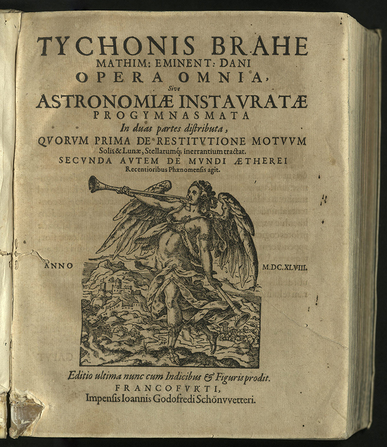 title-page with lower half-page image of figure with horn