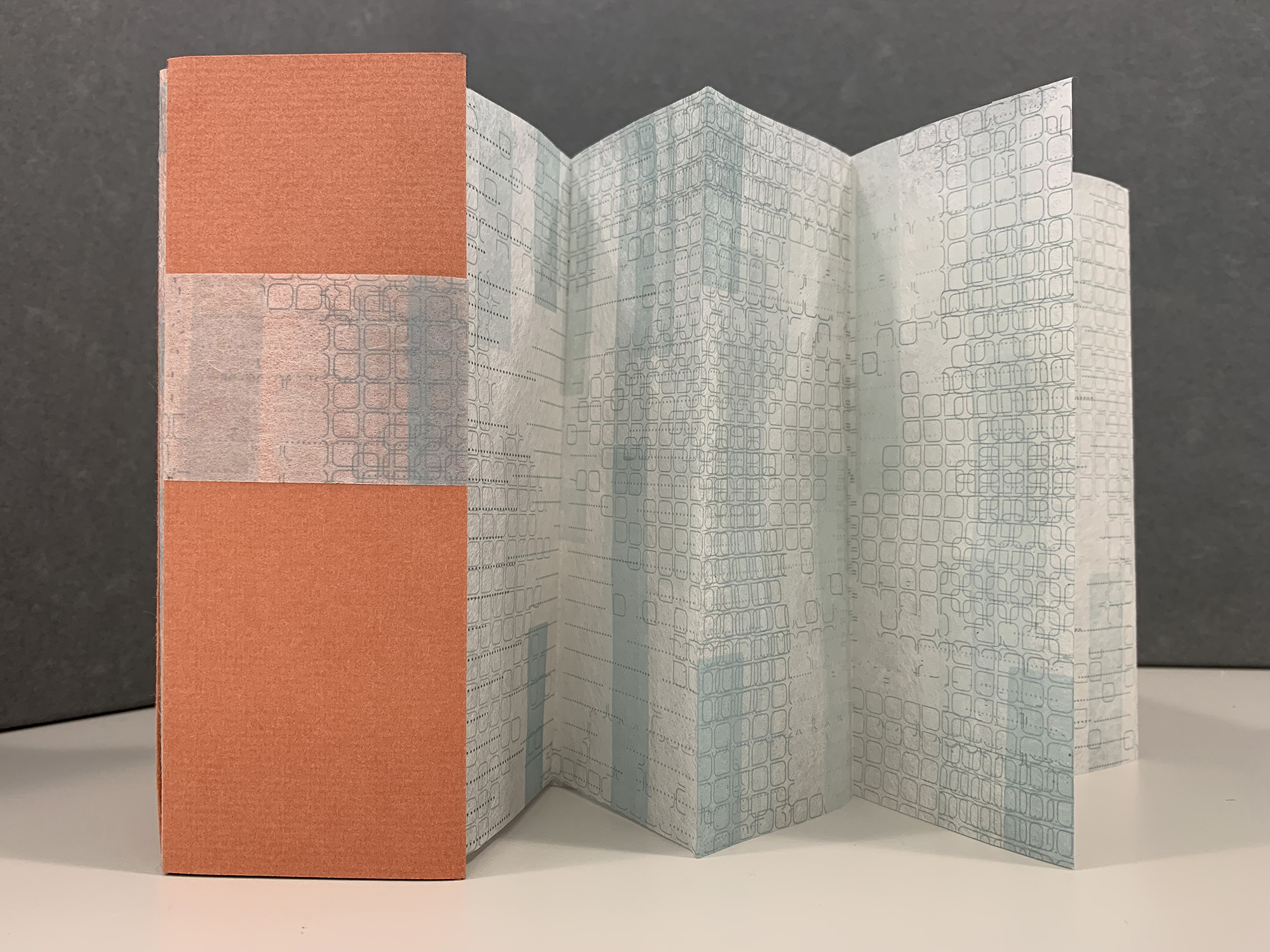 """""""Trace,"""" is an accordion-bound book letterpress printed from photopolymer plates and wood type."""